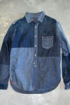 .. Denim Shirt Men, Denim Top, Denim Jeans, Denim Patchwork, New Blue, Denim Outfit, Denim Fashion, Casual Shirts For Men, Shirt Blouses