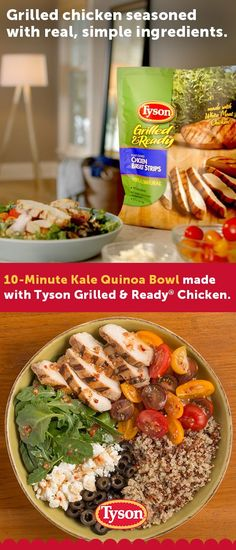 Looking for easy dinner ideas? Combine Tyson® Grilled & Ready® Chicken with fresh ingredients like arugula, cherry tomatoes and quinoa to create these colorful Kale and Quinoa Chicken Bowls. Toss with Wish-Bone® Italian Dressing for a full-flavored super- Healthy Meal Prep, Healthy Dinner Recipes, Diet Recipes, Healthy Snacks, Chicken Recipes, Healthy Eating, Cooking Recipes, Recipies, Grilled Chicken Seasoning