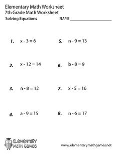 best year  maths worksheets images  calculus school worksheets  seventh graders have to solve  equations by figuring out the correct value  of the variables in this printable grade elementary math worksheet