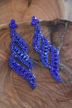 Blue Rhinestone Oversized prom/pageant earrings, clear long clip on rhinestone earrings, rose gold long rhinestone earrings