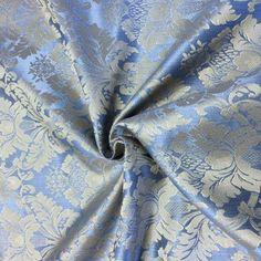 Light-Blue-Gold-Damask-Jacquard-Brocade-Fabric-118-034-By-the-Yard-Many-Design