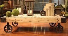 coffee decor | DIY Coffee Tables: Industrial Coffee Table on Wheels