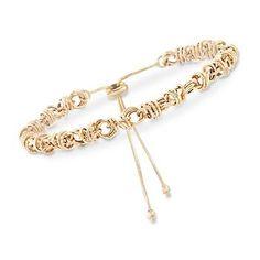 Ross-Simons - 14kt Yellow Gold Circle Link Bolo Bracelet - #877208