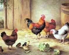 Reproducción Kitsch familia pollo imprimir por naturepoet en Etsy