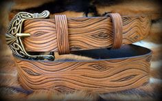 Wooden leather belt  hand tooled  Celtic buckle by Gemsplusleather, $170.00