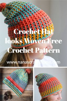 Crochet Beanie Pattern, Crochet Cap, Crochet Stitches Patterns, Cute Crochet, Crochet Crafts, Crochet Projects, Knitting Patterns, Unique Crochet Stitches, Easy Crochet Hat