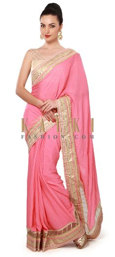 Buy Online from the link below. We ship worldwide (Free Shipping over US$100). Product SKU - 317404. Product Price - $169.00. Product Link - http://www.kalkifashion.com/pink-saree-adorn-in-gotta-patti-border-only-on-kalki.html