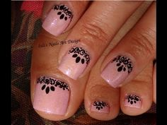 Toes Art Design - Black Lace Effect free hand painted elegant and feminine Summer 2013 - YouTube