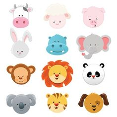 Illustration about Vector Collection of cute little animal faces. Illustration of collection, group, farm - 52550124 Elephant Face, Nursery Wall Murals, Cute Animal Illustration, Baby Bunnies, Cute Little Animals, Animal Faces, Wall Canvas, Wall Art, Mini