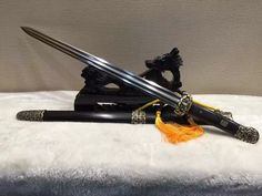 Chinese traditional sword,Folded steel,Ebony scabbard,Copper fitting,Length 30 inch