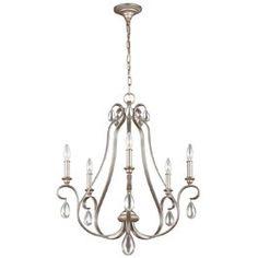 Feiss FEDEWITT5 DeWitt 5Lt Chandelier Ceiling Light 5x60w Sunrise Silver