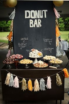 maybe do a donut bar plus a cake? The donut bar looks nice and people know what they're getting, but I want to have a cake with a cake topper too! Donut Bar, Dessert Bars, Dessert Table, Dessert Ideas, Choco Taco, Bar A Bonbon, Food Stations, Drink Stations, Festa Party