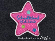 Aufnäher - Aufnäher Stern Schulkind ♥ Wunschdatum Einschulung - ein Designerstück von AnCaNi bei DaWanda