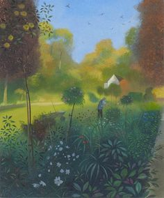 NICHOLAS HELY HUTCHINSON  Gardener in the Morning Light Oil on board 12 x 15 ins