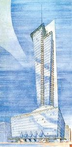 Presentation drawing for Rogers Lacy Hotel, Dallas, TX - That building was *this close* to being built in Dallas. And even though it was designed in 1946 (!), it looks modern enough to fit right in with the city's celebrated 21st-century skyline. Wright designed this 47-story hotel for millionaire East Texas wildcatter Rogers Lacy, to be built at the southwest corner of Commerce and Ervay, caddy-corner from the also fabulous (if not quite so futuristic-looking) Mercantile National Bank…