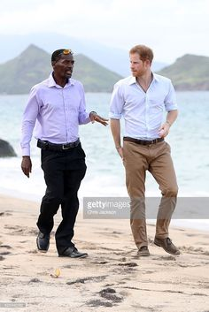 Prince Harry (R) meets the founder and president of the Nevis Turtle Group, Lemuel Pemberton to talk about the Nevis turtle conservation project on Lover's Beach on the fourth day of an official visit on November 23, 2016 in Saint Kitts and Nevis. Prince Harry's visit to The Caribbean marks the 35th Anniversary of Independence in Antigua and Barbuda and the 50th Anniversary of Independence in Barbados and Guyana.