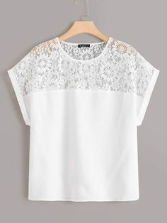 To find out about the Plus Solid Lace Insert Top at SHEIN, part of our latest Plus Size Blouses ready to shop online today! Plus Size Blouses, Plus Size Tops, Blouse Styles, Blouse Designs, Pencil Skirt Outfits, Looks Plus Size, Lace Insert, Lace Tops, Types Of Sleeves