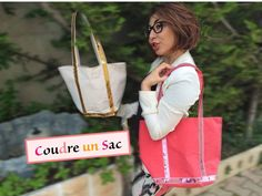 Tuto 26 Couture – Sew a Vanessa Bruno style bag - Womens Bags Sacs Tote Bags, Reusable Tote Bags, Doll Videos, Bags 2017, Glitter Ribbon, Simple Bags, Easy Bag, Couture Sewing, Fabric Bags