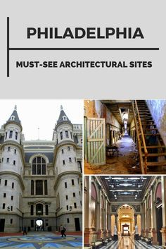 Outstanding architecture in Philadelphia, Pennsylvania, USA. City Hall, the Grand Lodge of Free & Accepted Masons of PA, and Eastern State Penitentiary.
