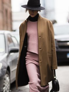 dusty pink & camel. #LindaTol in NYC.