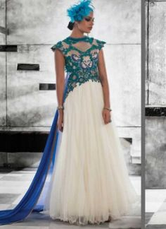 Wonderful White Embroidery Work Net Brocade Gown