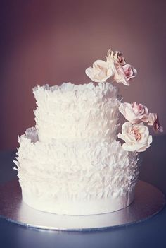 Rose Frill Wedding Cake - two tier - Maggie Austin inspired