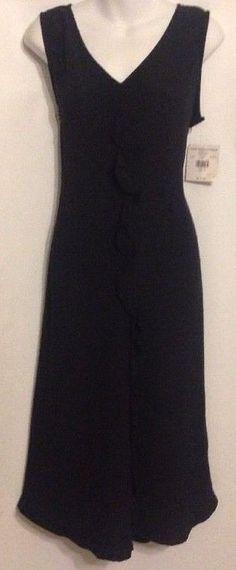 Valerie Stevens Collection Sz 10 Silk Maxie Ruffled Sleeveless Black Dress $115 #ValerieStevens #LittleBlackDressMaxi #Formal