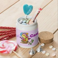 Pretty Chick Candy Jar - Great for Easter! #Easter #candyjar #chick #pretty #colorful #candy #kitchen