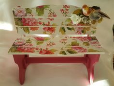 Decoupage, Bright Toe Nails, Furniture Ideas, Outdoor Furniture, Outdoor Decor, Stool Makeover, Tea Box, Painting On Wood, Decorative Boxes