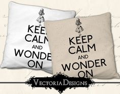Keep Calm and Wonder On Alice in Wonderland digital transfer image iron on writing printable instant download digital collage sheet VD0672 on Etsy, $2.95