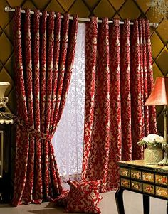 Grommet Top, Heavy Textured Floral Blackout Curtains