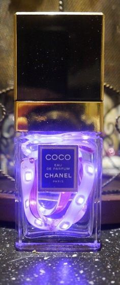 Chanel Recycled Perfume Bottle Battery Powered Pink LED Lamp Battery Lamp, Led Lamp, Lamps, Alcohol Bottles, Perfume Bottles, Parfum Chanel, Picture Tiles, Light Up Signs, Festival Accessories