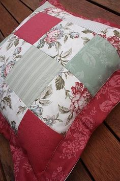 Quilted Patchwork Floral  Cushion