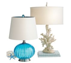 Add coastal color and texture with our Turquoise Glass or Coral Lamps