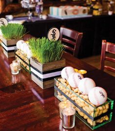 Super baby shower centerpieces for boys baseball bar mitzvah Ideas Sports Centerpieces, Baseball Centerpiece, Bar Mitzvah Centerpieces, Baseball Wedding Centerpieces, Baseball Party Decorations, Grass Centerpiece, Banquet Centerpieces, Ball Decorations, Shower Centerpieces