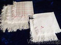 5 Beautiful Antique French LINEN NAPKINS c1890 www.Vintageblessings.com