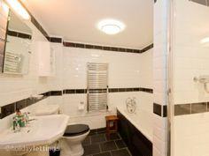 The stylish Art Deco bathroom.