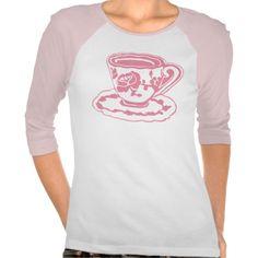 Rose Teacup Ladies Raglan T-Shirt; Abigail Davidson Art; ArtisanAbigail at Zazzle