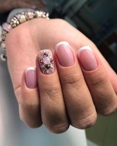 Wedding Manicure, Wedding Nails Design, Bridal Nails, Fancy Nails, Bling Nails, Pretty Nails, Crystal Nails, Beautiful Nail Designs, Nail Art Hacks