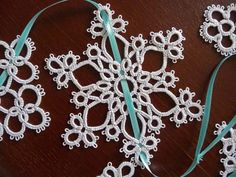 Tatting Christmas garland white snowflakes  by ShopGift on Etsy, $17.00