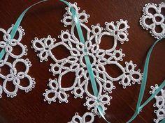 Tatting Christmas garland white snowflakes  by ShopGift on Etsy, $17.00