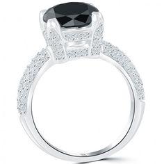 3.88 Carat Certified Natural Black Diamond Engagement Ring 18k White Gold - Thumbnail 2