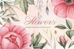 Watercolor Flowers Set, Handpainted by SquirrelStudio on @creativemarket