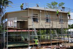The new Colourbond roof is installed as well as the subfloor for the lower floor. House Lift, Diy Organization, Organizing, Queenslander, Home Renovation, Cabin, Flooring, House Styles, Awesome