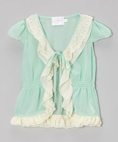 Look what I found on #zulily! Aqua Angel-Sleeve Top - Toddler & Girls #zulilyfinds {pinned by http://eco-babyz.com}