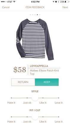 This is the blue and white top i was talking about in my last note Liz!:-) Loveappella Malbec elbow patch - run Tts