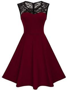 HOMEYEE Damen Elegant Spitze Rundhalsausschnitt Ärmel Mesh-A-Linie Kleid UKA008 (EU 36 (Herstellergroesse: S), Dunkelblau): Amazon.de: Bekleidung
