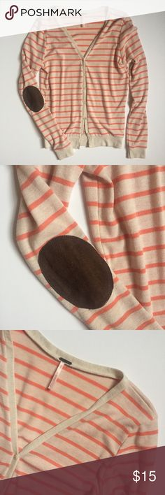 Striped cardigan with elbow patches no flaws. size L but fits like a M. Sweaters Cardigans