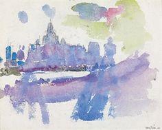 "John Marin  Untitled--Brooklyn Bridge Series   Watercolor and pencil on paper  7 3/4 x 10"""