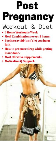 2 Week Post Pregnancy Workout & Diet Plan. Easy to follow, quick home workouts.